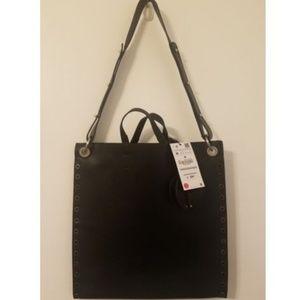 Zara Black Tote Handbag Studded with Spike Strap
